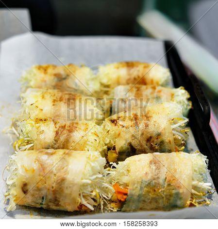 Vegetarian Street Food At Myeongdong Open Street Market In Seoul