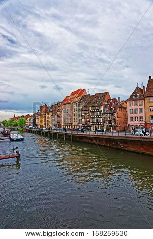 Waterfront Of Ill River In Strasbourg In France