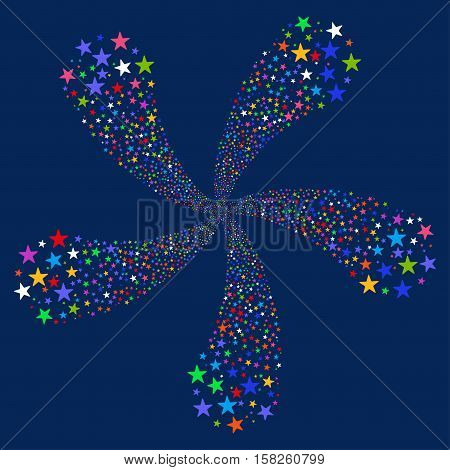 Star Fireworks Flower With Five Petals vector illustration. Style is bright multicolored flat stars, blue background.