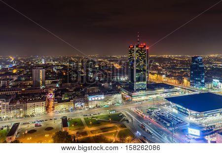 Warsaw, Poland - November 5, 2016: Aerial night view of Warsaw.