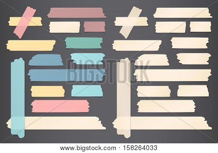 Colorful and beige different size sticky, adhesive masking tape are on black background.