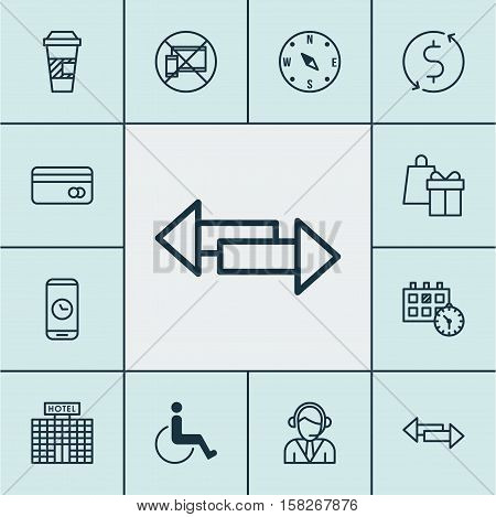 Set Of Travel Icons On Shopping, Plastic Card And Crossroad Topics. Editable Vector Illustration. In