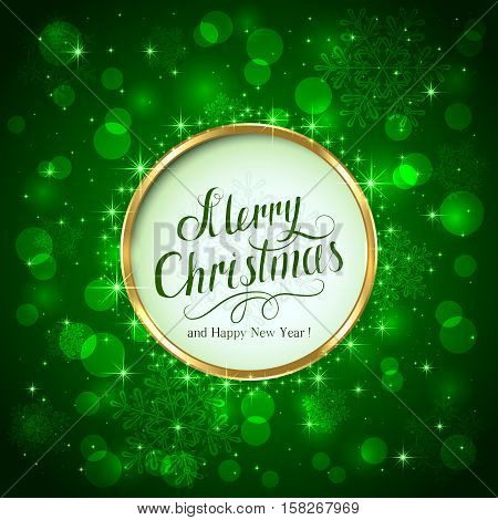 Green sparkle background with lettering Merry Christmas and Happy New Year, illustration.