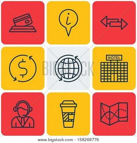 Set Of Traveling Icons On Money Trasnfer, Takeaway Coffee And Info Pointer Topics. Editable Vector I