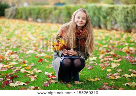 Girl With Long Hair Gathering Autumn Leaves
