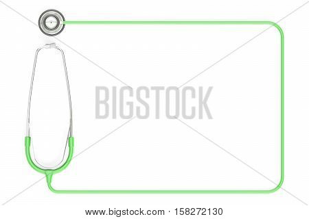 Stethoscope as frame green color. 3D rendering isolated on white background