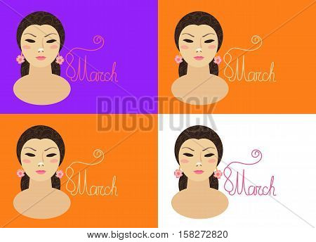 International woman's day. March 8. Set of beautiful greeting card with a female portrait.