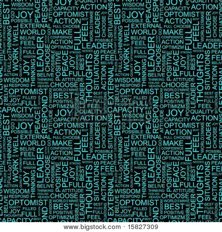 OPTIMISM. Seamless vector pattern with word cloud. Illustration with different association terms.