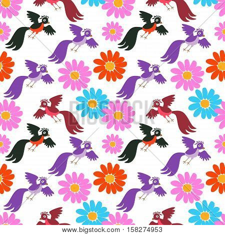 Seamless vector pattern with cute cartoon birds and flowers.