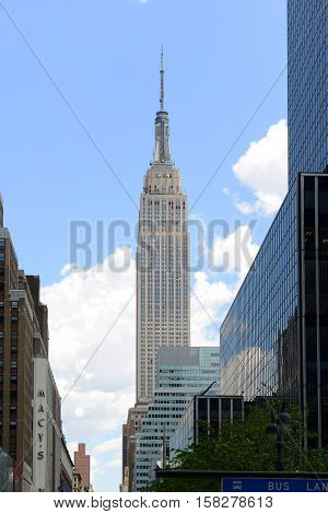 NEW YORK CITY - MAY 25, 2014: Empire State Building view from 34th Street, Midtown Manhattan, New York City, USA.