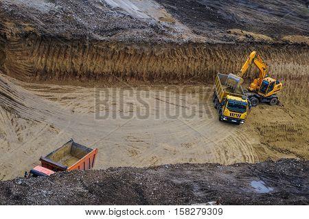 bulldozer excavator truck working hard dig dich