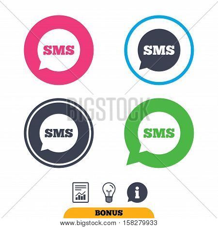 SMS speech bubble icon. Information message symbol. Report document, information sign and light bulb icons. Vector