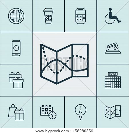 Set Of Traveling Icons On Takeaway Coffee, Appointment And Accessibility Topics. Editable Vector Ill