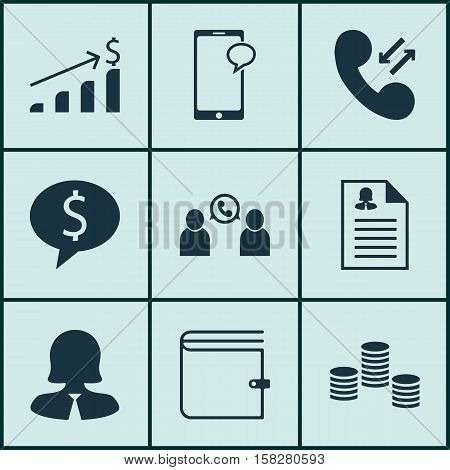 Set Of Management Icons On Wallet, Phone Conference And Money Topics. Editable Vector Illustration.