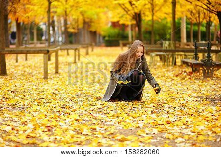 Young Girl In Paris On A Fall Day