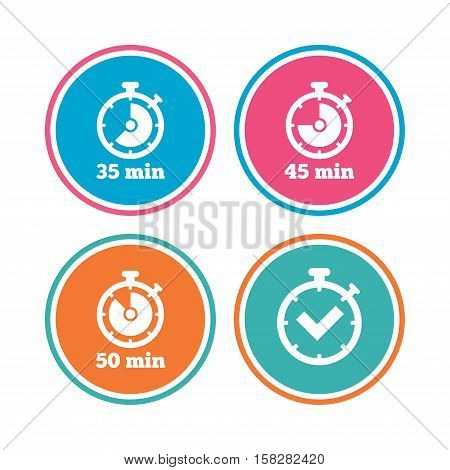 Timer icons. 35, 45 and 50 minutes stopwatch symbols. Check or Tick mark. Colored circle buttons. Vector