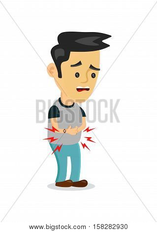 stomachache food poisoning stomach problems.vector flat cartoon concept illustration of men character food poisoning or digestion.nausea diarrhea abdominal crampsheadache flu pain constipation