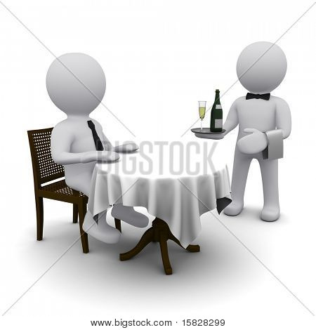small three-dimensional man dines in a restaurant at a table.