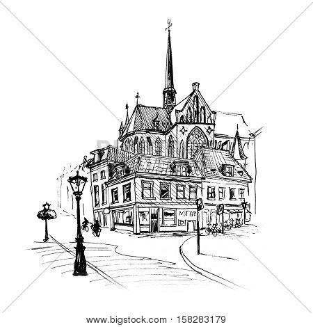 Black and white hand drawing, city view of dutch typical house, lantern and spire of Sint Willibrordkerk, Utrecht, Netherlands. Picture made liner