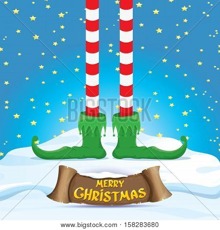 vector creative merry christmas greeting card with cartoon elfs legs on snowy north pole with christmas lights and greeting christmas calligraphic text on old vintage paper banner ribbon.