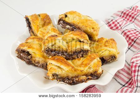 Chocolate Pie Slices On A White Plate