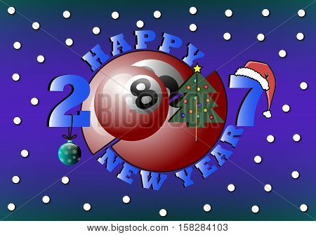 happy new year 2017 and billiard ball with Christmas tree, cue, ball and hat. Vector illustration
