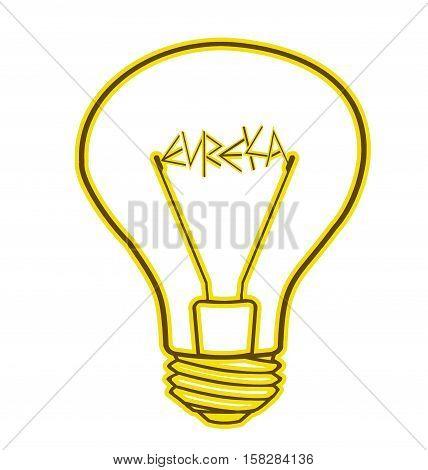 Yellow bulb included - Eureka! - on a white background, isolated illustration
