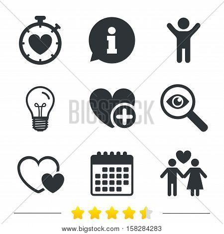 Valentine day love icons. Love heart timer symbol. Couple lovers sign. Add new love relationship. Information, light bulb and calendar icons. Investigate magnifier. Vector