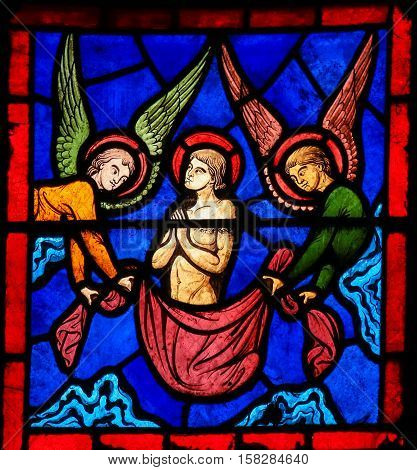 Stained Glass - Saint Stephen And Angels With Wings