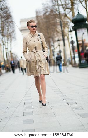 Beautiful Young Woman On The Champs-elysees