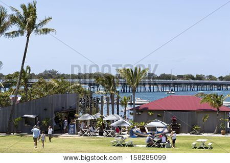 BRIBIE ISLAND, AUSTRALIA - November 20, 2016: People enjoying a beautiful sunny day on the Pumicestone Passage near the bridge to the Bribie Island Queensland Australia
