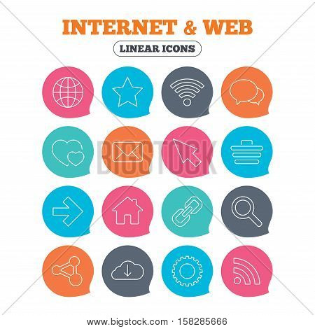 Internet and Web icons. Wi-fi network, favorite star and internet globe. Hearts, shopping cart and speech bubbles. Share, rss and link symbols. Flat speech bubbles with linear icons. Vector