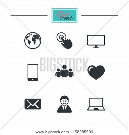 Web, mobile devices icons. Share, mail and like signs. Laptop, phone and monitor symbols. Black flat icons. Classic design. Vector