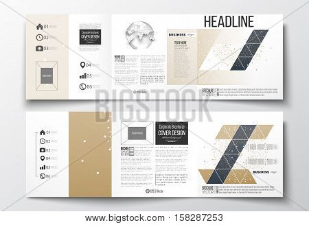 Vector set of tri-fold brochures, square design templates with element of world globe. Polygonal golden background with connecting dots and lines, connection structure. Digital or science vector