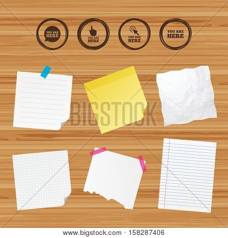 Business paper banners with notes. You are here icons. Info speech bubble symbol. Map pointer with your location sign. Hand cursor. Sticky colorful tape. Vector