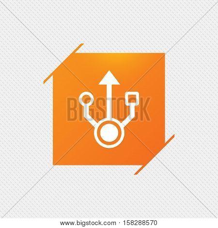 Usb sign icon. Usb flash drive symbol. Orange square label on pattern. Vector