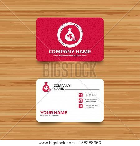 Business card template with texture. Money bag with three leaves clover and coin sign icon. Saint Patrick trefoil shamrock symbol. Phone, web and location icons. Visiting card  Vector