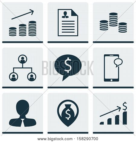 Set Of Management Icons On Manager, Coins Growth And Messaging Topics. Editable Vector Illustration.