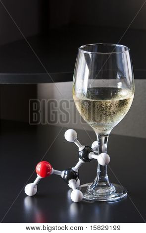 Ethanol molecule and glass of wine