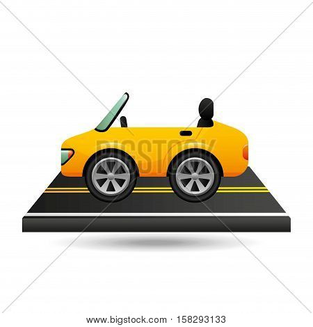 yellow cabriolet car on road vector illustration eps 10