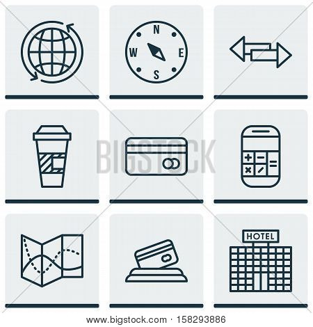 Set Of Transportation Icons On Locate, Plastic Card And Hotel Construction Topics. Editable Vector I