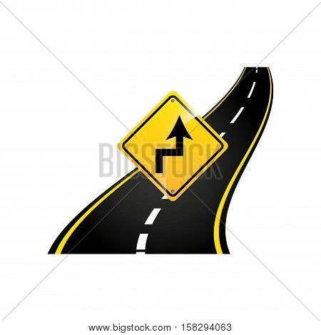 curves road sign concept asphalt graphic vector illustration eps 10
