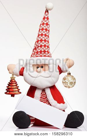 Cute santa claus toy christmas soft toy. Happy christmas funny toys