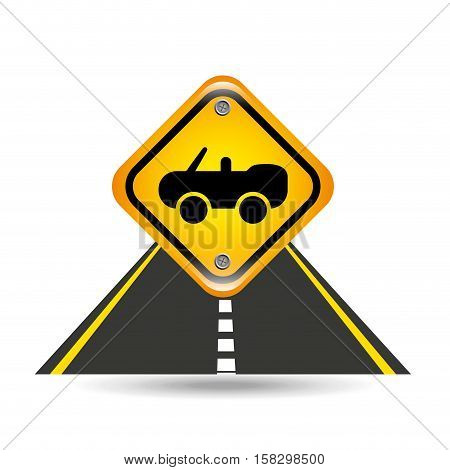 cabriolet car yellow road street sign vector illustration eps 10