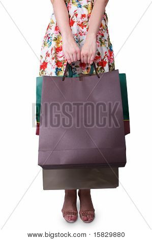 White Lady Holding Bags From A Shop
