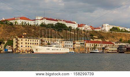 Sevastopol, Russia - June 09, 2016: Large motor yacht Old Captain in the Bay Black Sea.