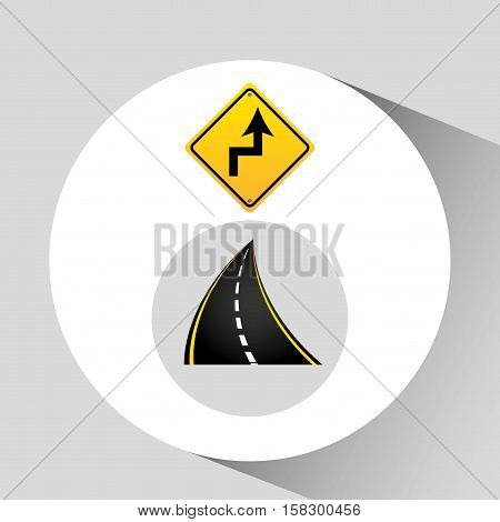 reverse turn road sign concept graphic vector illustration eps 10