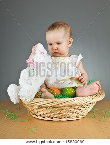 Young Cute Baby In An Easter Setting