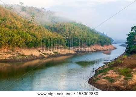 River in summer In Kanchanaburi Province of Thailand