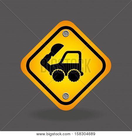 excavator truck yellow road street sign vector illustration eps 10